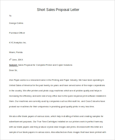 6 sample sales proposal letters pdf word sample for Short sale marketing letter