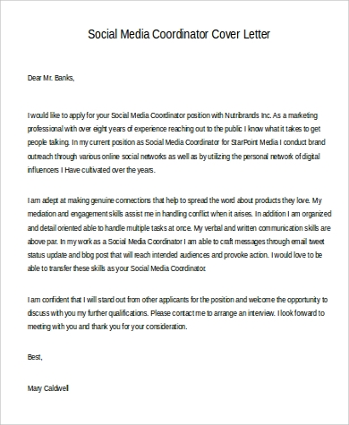 4+ Social Media Cover Letter - Examples in Word, PDF