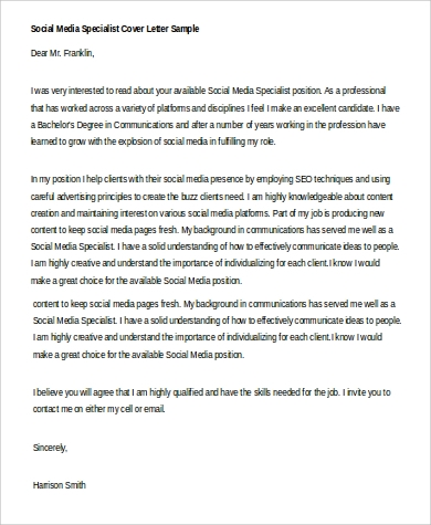 social media policy template for schools - 4 social media cover letter examples in word pdf