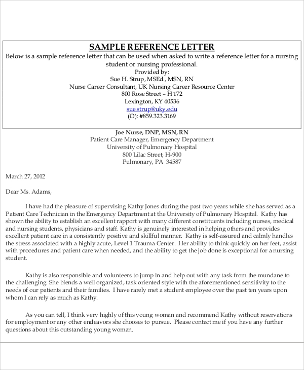Sample Nursing Recommendation Letter  Free Sample Example