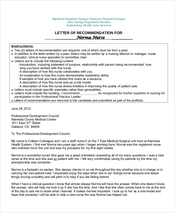 10 Sample Nursing Recommendation Letter Free Sample Example – Nursing Recommendation Letter