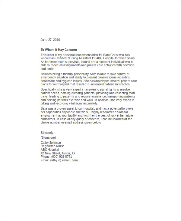 nurse letter of recommendation