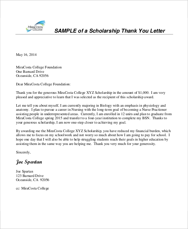 nursing scholarship thank you letter