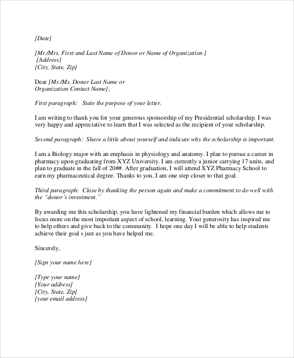 Example Of Thank You Letter For Scholarship Sponsor