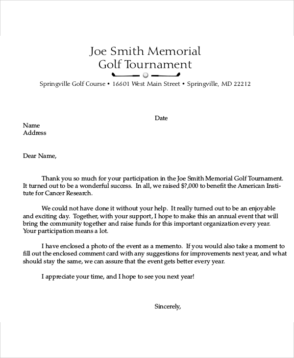 golf tournament sponsorship thank you letter