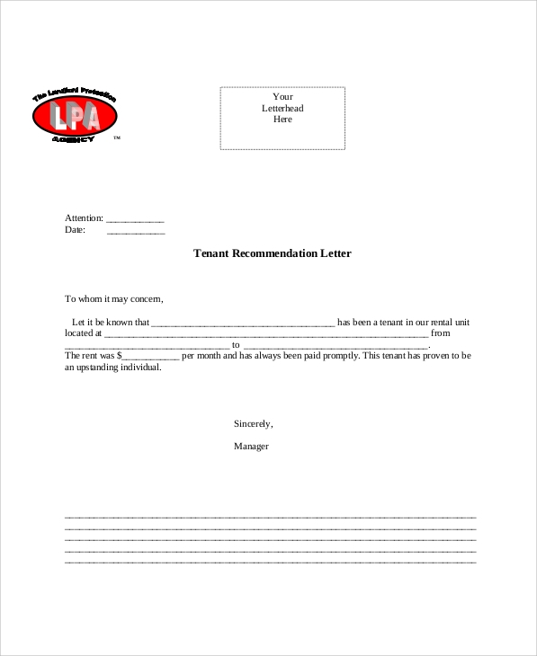 Sample Tenant Recommendation Letter 7 Examples in Word PDF – Tenant Verification Letter