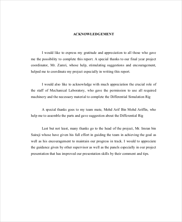 Sample Acknowledgment Report  Free Sample Example Format Download