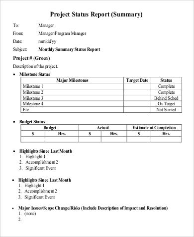 Sample Status Report 9 Examples in PDF