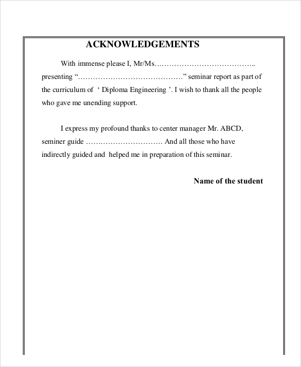 acknowledgement for seminar report format