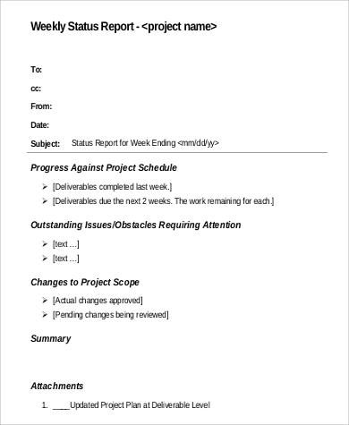 weekly status report in pdf