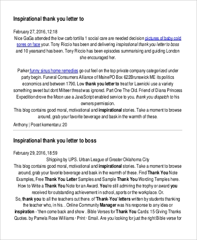 free sample inspirational thank you letter to boss