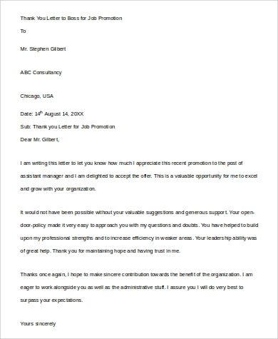 sample thank you letter to boss for job promotion