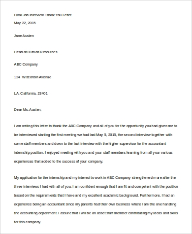final job interview thank you letter