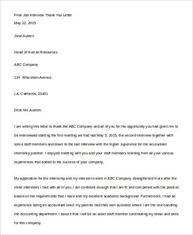 final job interview thank you letter