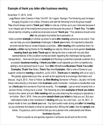 thank you letter after business meeting