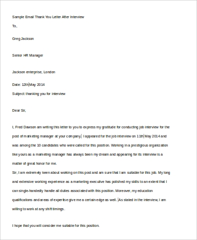 sample email thank you letter after interview