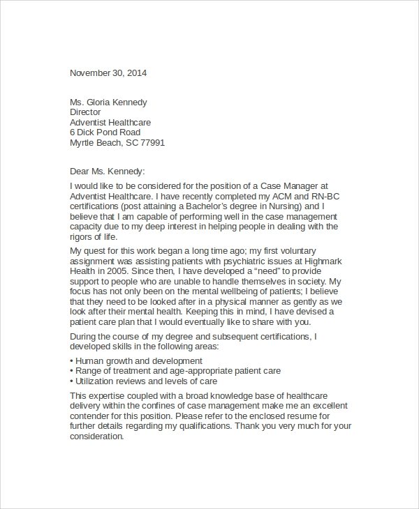 Case Manager Cover Letter   Examples In Word Pdf