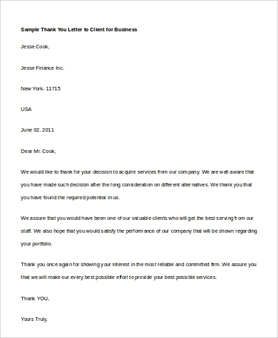 thank you letter to client for business