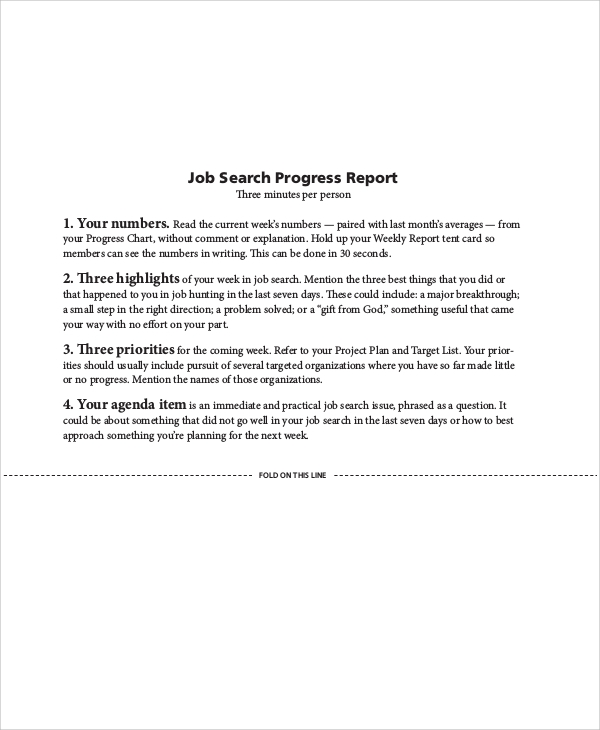 Sample Job Progress Report   Examples In Word Pdf