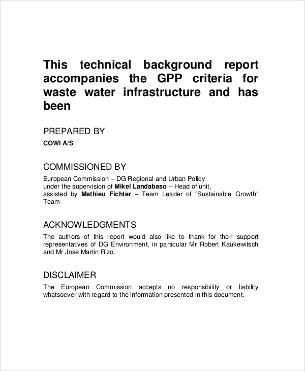 technical background report