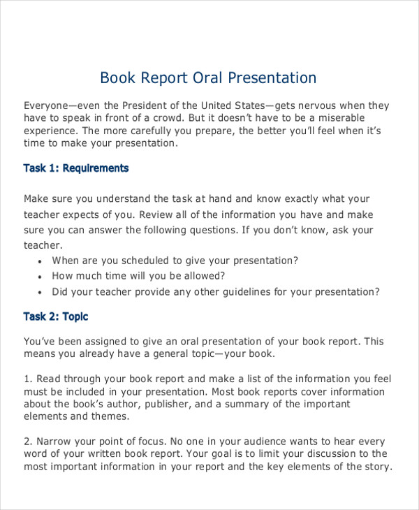 oral book report example