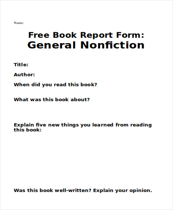 free book report form