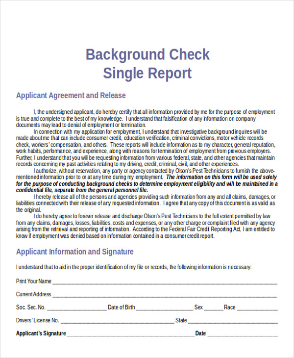 Sample Background Check Report - 7+ Examples In Word, Pdf