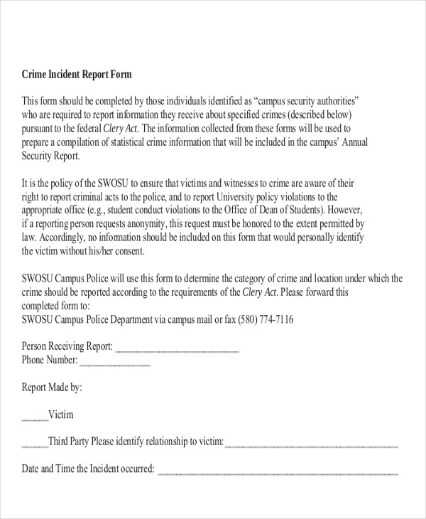 Sample Incident Report  Free Sample Example Format Download