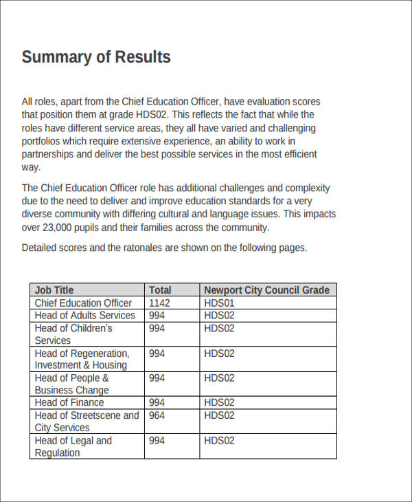 Sample Job Evaluation Report   Examples In Word Pdf