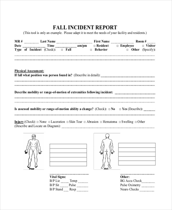 slip and fall incident report sample 19  Sample Incident Reports | Sample Templates
