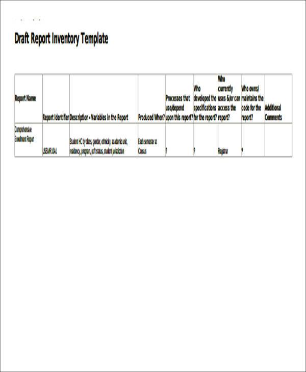 sample draft inventory report