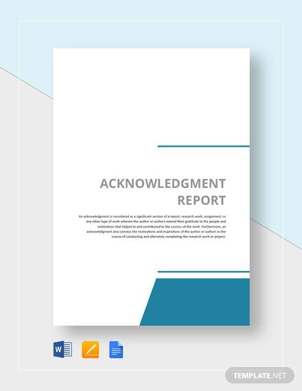 acknowledgement report