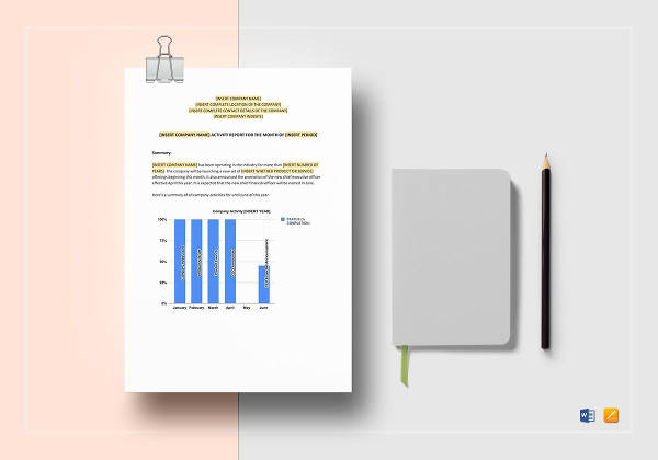 activity report template to print