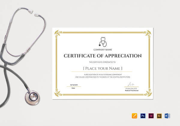 blank medical appreciation certificate template