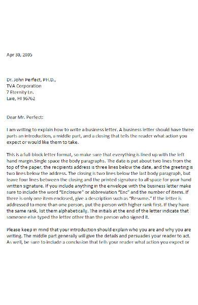 business letter sample in ms word