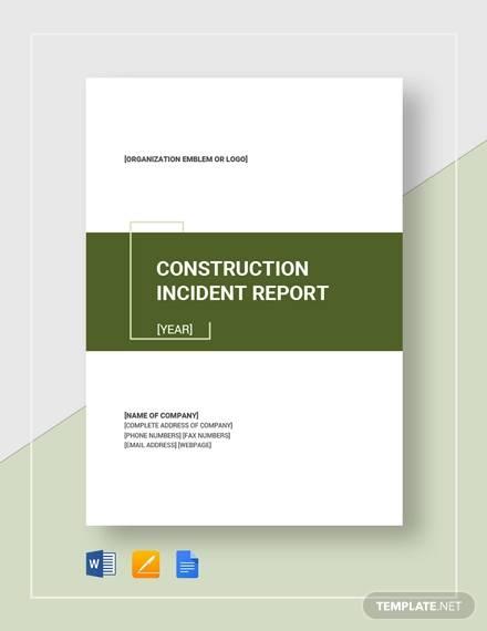 constructionn incident report