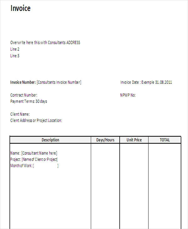 consultant sample invoice