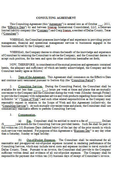 consulting agreement in ms word