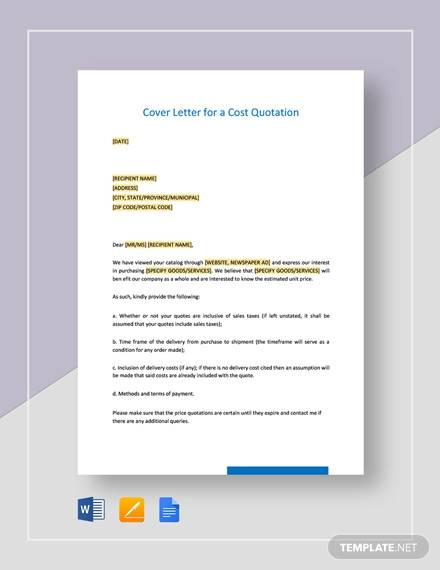 cover letter for a cost quotation template