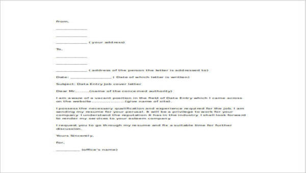 4+ Data Entry Cover Letters