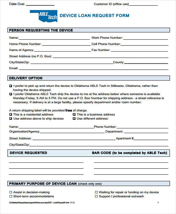 sample loan request forms