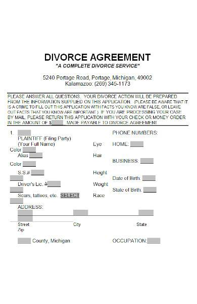 divorce agreement in ms word