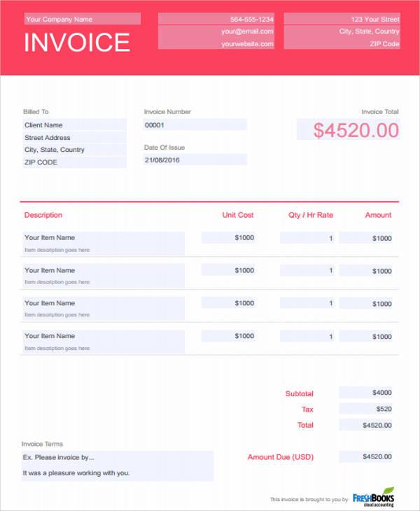 6  dj invoice samples