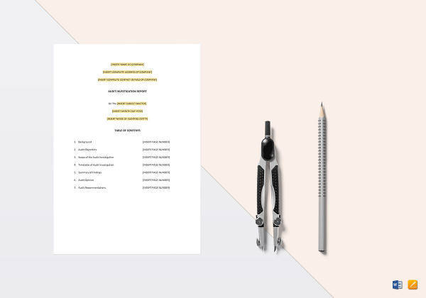 easy to edit audit investigation report template