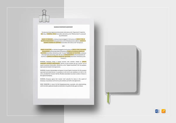editable business investment agreement template
