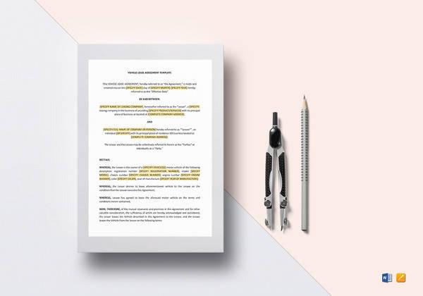 editable vehicle lease agreement