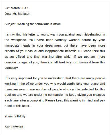employee warning letter for behaviour