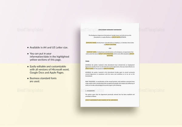 employment agreement amendment template
