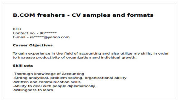 Free 6 Example Resume Objective Templates In Ms Word Pdf