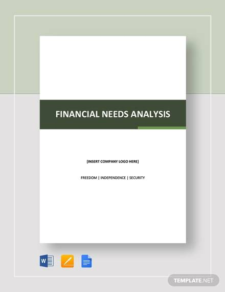 financial needs analysis template